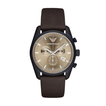 ARMANI WATCH TERRA TONES MEN SPORT LEATHER NEW TAZIO STAINLESS STEEL AR6078