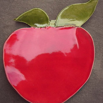 Ceramic Apple Dish Red Fruit Plate Spoon Rest  Kitchen Decoration Eco Friendly Material