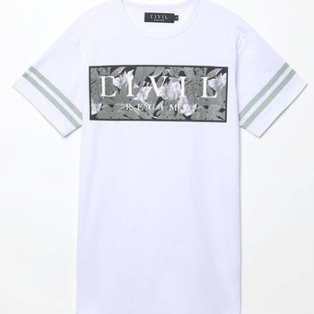 Civil Tonal Floral Box T-Shirt - Mens Tee - White