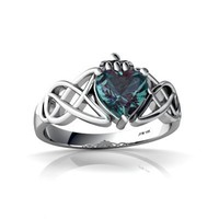 14K White Gold Heart Created Alexandrite Celtic Claddagh Knot Ring Size 4.5