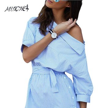 2017 Fashion one shoulder Blue striped women dress shirt Sexy side split Elegant half sleeve waistband OL girls beach dresses