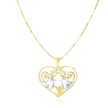 14K Two-Tone Gold Filigree Heart with Doves Pendant