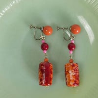 Vintage 1960s Mod Candy Cylinder Drop Earrings Orange Pink and Red Screw Back