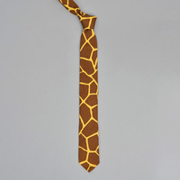 the hill side - pn57 170 giraffe print pointed tie brown