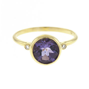 14 Karat Yellow Gold Amethyst and Diamond Ring