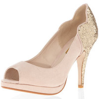 Glitter mid heel peep courts - View All Shoes  - Shoes