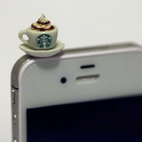 Kawaii STARBUCKS CAPPUCCINO Iphone Earphone by fingerfooddelight