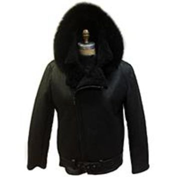 Shearling Jacket with Fox Fur Hood