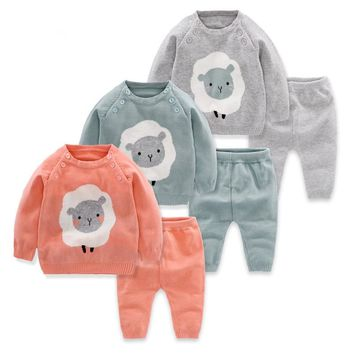 Newborns Toddler cartoon sheep Clothing Sets Wool Knitted Cotton Sweater boys Girls Sets Infant Warm Pullover Pants Suit
