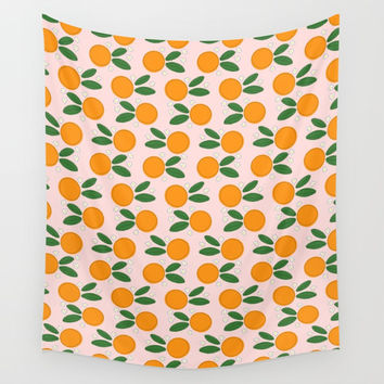 Orange Blossoms on Pale Pink Wall Tapestry by Inspire Your Art