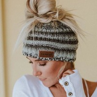 Messy Bun Knitted Beanie - Gray Multi