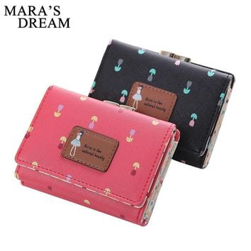 Mara's Dream Lady Short Coin Pouch Women's Purse New Kawaii Girl Small Change Wallets Coin Bag 3 Fold PU Leather Coin Purse