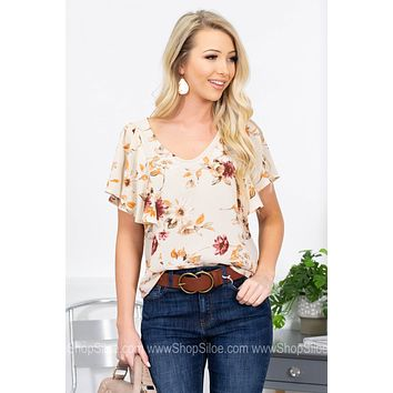 Megan Flutter Sleeve Floral Top