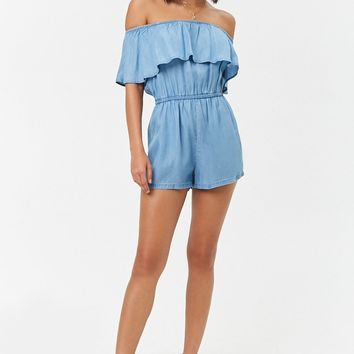 Flounce Chambray Romper