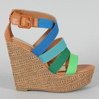 Bamboo Dorothy-06 Colorblock Strappy Wedge