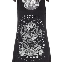 Rockabilly Ganesha w/ Sheer Skull Lace Back Flare Tank Top