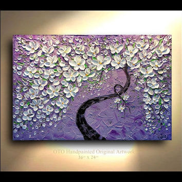 ORIGINAL Painting 24x36 Purple White Green by tjenkinsarts on Etsy