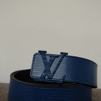 Louis Vuitton Belt epi leather blue monogra 90cm with box & dustbag. Kim Jones
