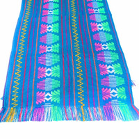 Teal blue tribal runner, Table cloth, Table Runner, Bohemian Decor, Bohemian Chic, Aztec, Tribal, teal blue with tribal details. houseware,
