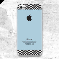 iPhone 5 case  Blue and Kraft Chevron Pattern cases  by evoncase