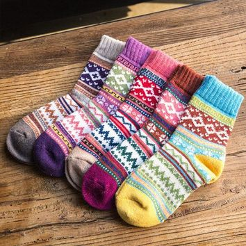Women Stripe Woolen Blend Socks Ethnic Style Design Multi-Color Casual Ankle Sock