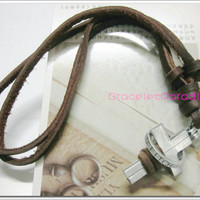 Brown leather rope, metal ring surrounding a Holy Spirit Cross Pendant, fashion personality necklace N-12.