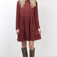 Long Sleeve Mock Neck Sweater Dress {Brick}