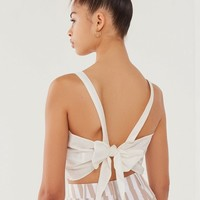 UO Annabelle Apron Tie-Back Cropped Top | Urban Outfitters
