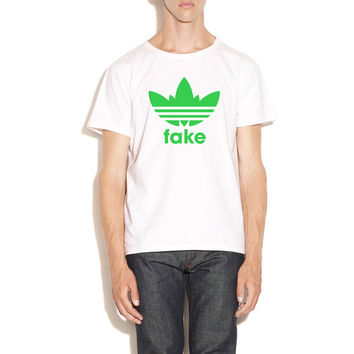 Fake Adidas Weed T-shirt, White and Green, Fake the true brand, Silk Printing.