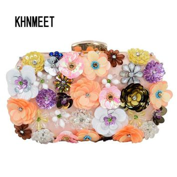 Newest Luxury Lady Diamond Flower Evening Bag Wristlets Wedding Party Bridal Clutch Purse Chain Shoulder Bag banquet clutch 804