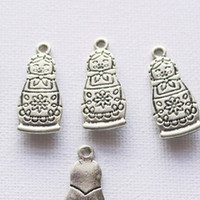 6pcs Russian Doll Silver Charm Tibetan Supplies Jewelry Big Charms Pendants Bracelet 27x12mm Necklace Matryoshka