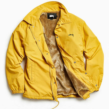 Stussy Smooth Stock Faux Fur Lined Coach Jacket - Urban Outfitters