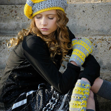 Crochet Hat Gray and Yellow Tween Fashion Slouchy Hat with Big Bow