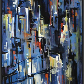 NIGHT LIGHTS 22L X 28H Floater Framed Art Giclee Wrapped Canvas