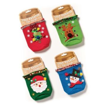 Demdaco Ugly Sweater Can Koozies- Set of 4 Assorted