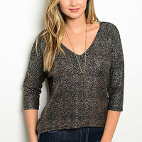 Blackened Bronze Metallic Knit Sweater
