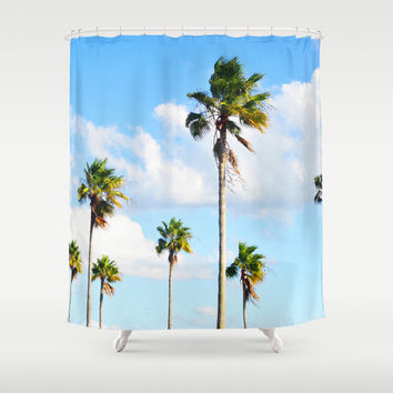 North Beach Palms 2 - Shower Curtain, Tropical Palm Trees Accent, Blue Green Boho Chic Beach Surf Vanity Bathroom Hanging Tub Curtain. 71x74