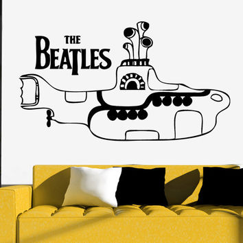 Yellow Submarine Wall Sticker THE BEATLES Vinyl Art Decor Silhouette Heads John Lennon, Paul McCartney, George Harrison, Ringo Starr