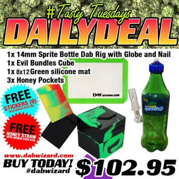 DAILY DEAL 06/23/2015 -1x 14mm Sprite Bottle Rig with Globe and Nail + 1x Evil Bundles Cube + 1x 8by12 Silicone Dab Mat + 3x Honey Pockets