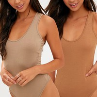 Basic Camel & Basic 2 Pack Scoop Neck Thong Bodysuit