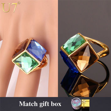 U7 Big Green Crystal Ring For Women Gold Color Party Jewelry Trendy Colorful Fancy Stone Statement Rings R352