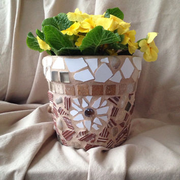 Flower pot, outdoor garden, handmade mosaics, terra cotta planter, housewarming gift, garden, patio, kicthen decorations,