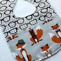 Baby Bib - Limited Edition Baby Bib - Dapper Foxes Bib - Fox and the Houndstooth Bib - Foxes and Glasses- White Minky Fabric - Handmade Baby