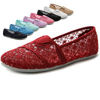 Ollio Womens Shoes Slip On Lace Ballets Breathable Flats