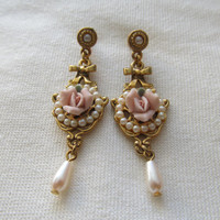 1928 Porcelain Floral Earrings