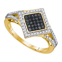 Black Diamond Fashion Ring in 10k Gold 0.33 ctw