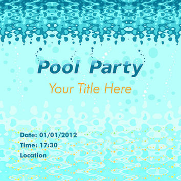 Pool Party Invitation - Under Water Bubbles - Light Blue Card Design - Printable File