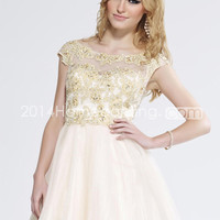 US $136.99 2014 Bateau Short/Mini A Line Tulle Prom Dress Embellished Bodice With Beaded Applique