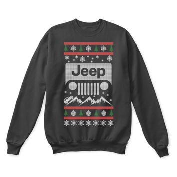 ESBINY Jeep Riding Through The Mountains Ugly Christmas Sweater