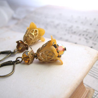 Golden Topaz Shabby Flower earrings crystal by shadowjewels